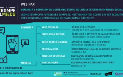 Webinar 6: Denuncia y remoción de contenido sobre violencia de género en redes sociales