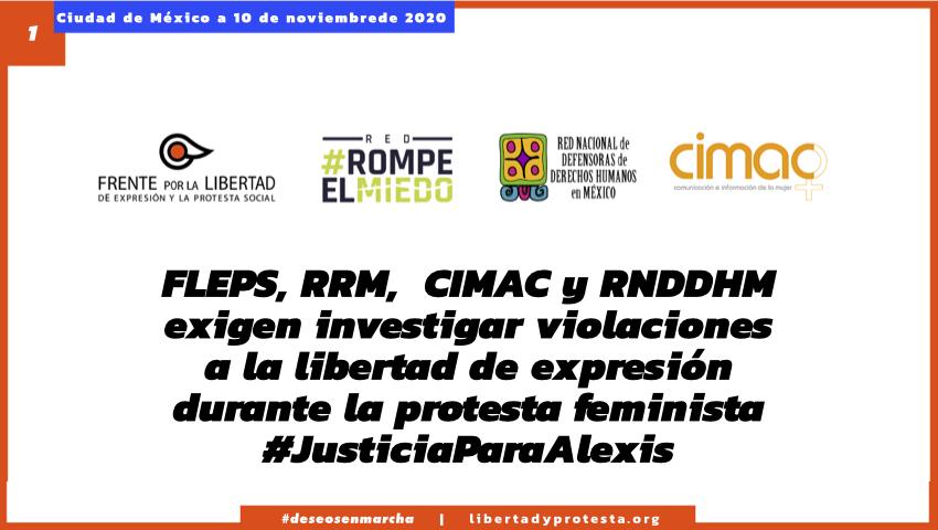 FLEPS, RRM, CIMAC y RNDDHM exigen investigar violaciones a la libertad de expresión durante la protesta feminista #JusticiaParaAlexis