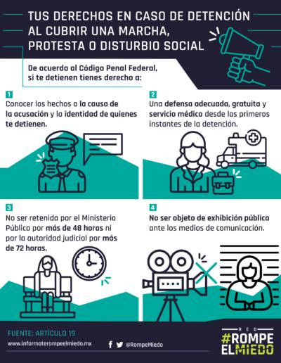 Tus derechos en caso de detención al cubrir una marcha, protesta o disturbio social