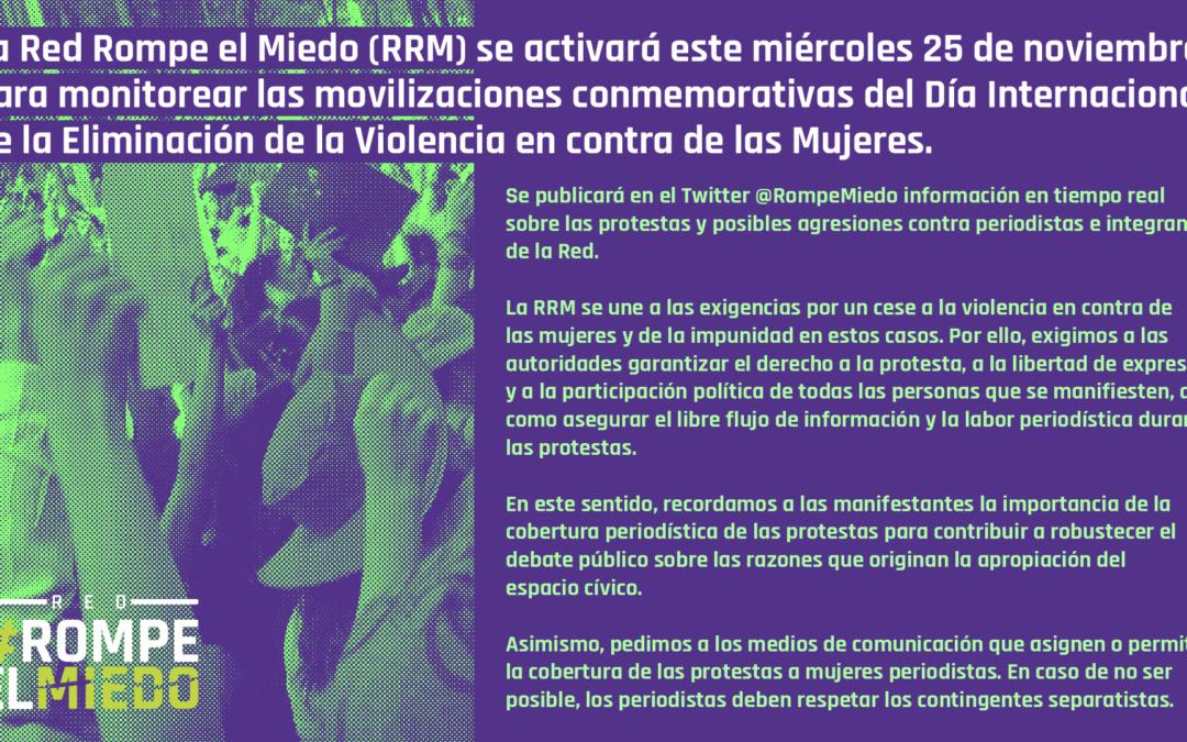 La Red #RompeElMiedo se activará el 25 de noviembre para monitorear las movilizaciones conmemorativas del Día Internacional de la Eliminación de la Violencia en contra de las Mujeres